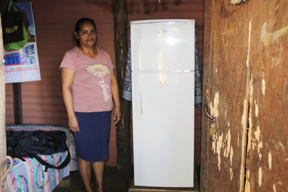 The refrigerator she bought with the seed money earned in the Women's Empowerment Project